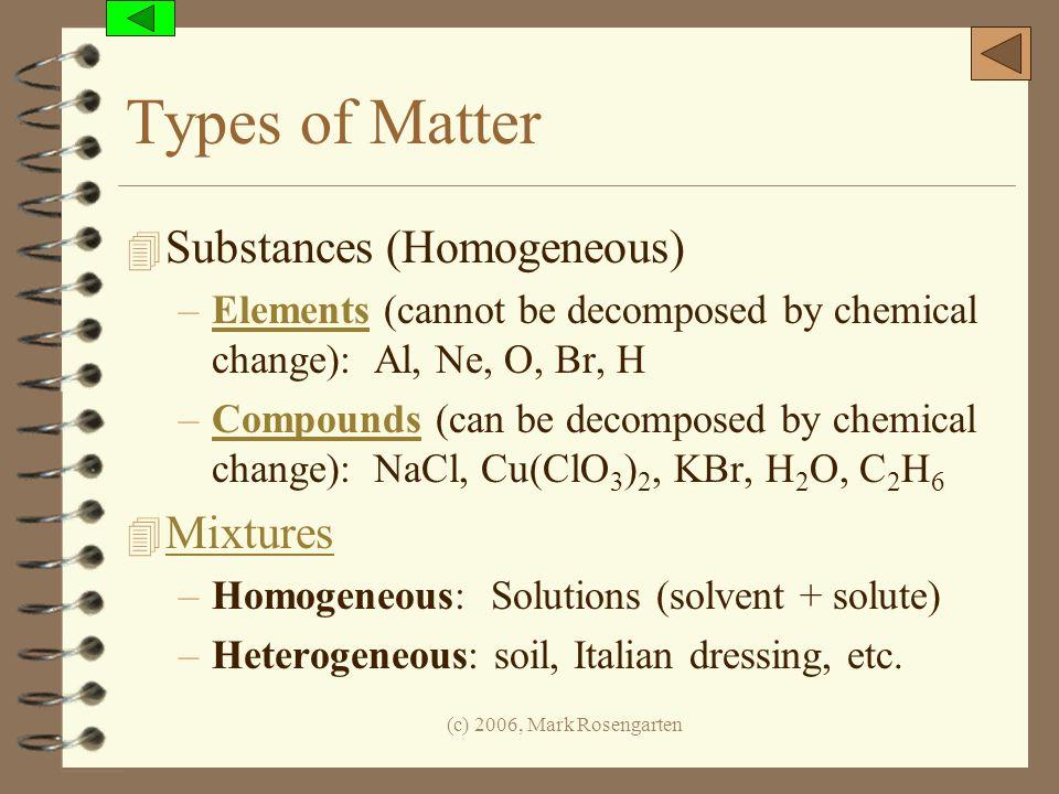 Types of Matter Substances (Homogeneous) Mixtures