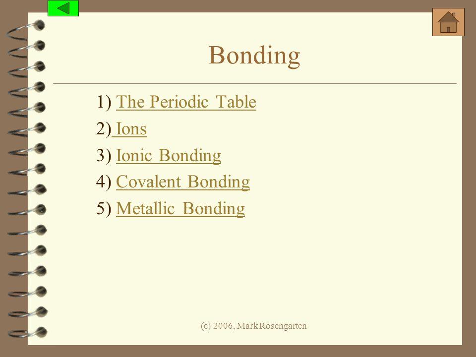 Bonding 1) The Periodic Table 2) Ions 3) Ionic Bonding