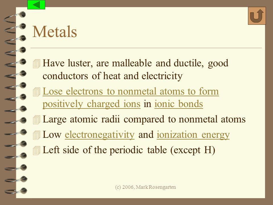 Metals Have luster, are malleable and ductile, good conductors of heat and electricity.