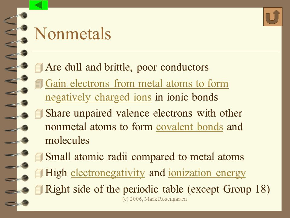 Nonmetals Are dull and brittle, poor conductors