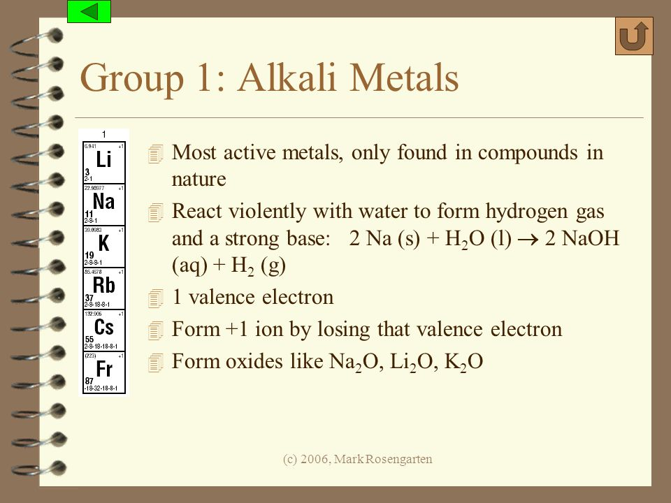 Group 1: Alkali Metals Most active metals, only found in compounds in nature.