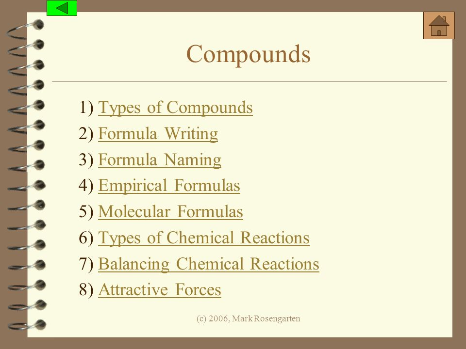 Compounds 1) Types of Compounds 2) Formula Writing 3) Formula Naming