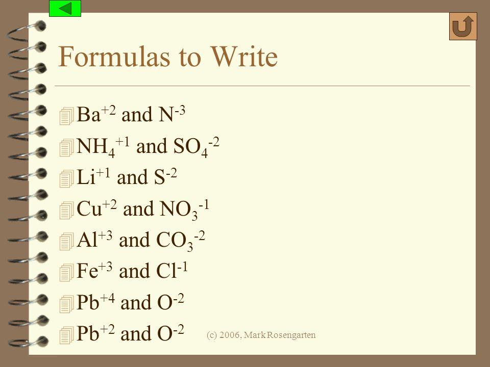Formulas to Write Ba+2 and N-3 NH4+1 and SO4-2 Li+1 and S-2