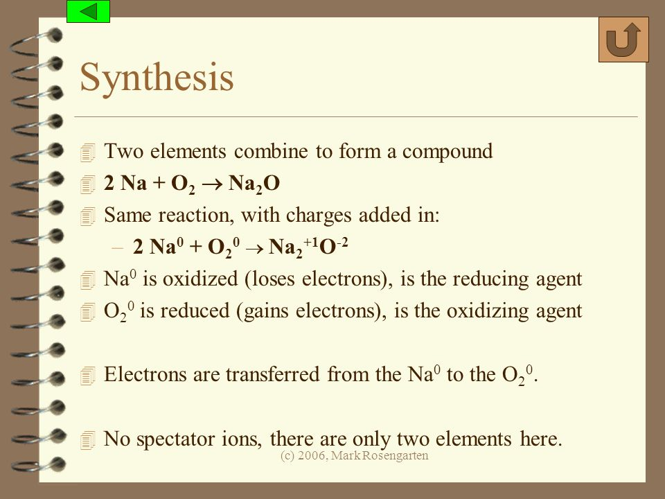 Synthesis Two elements combine to form a compound 2 Na + O2  Na2O
