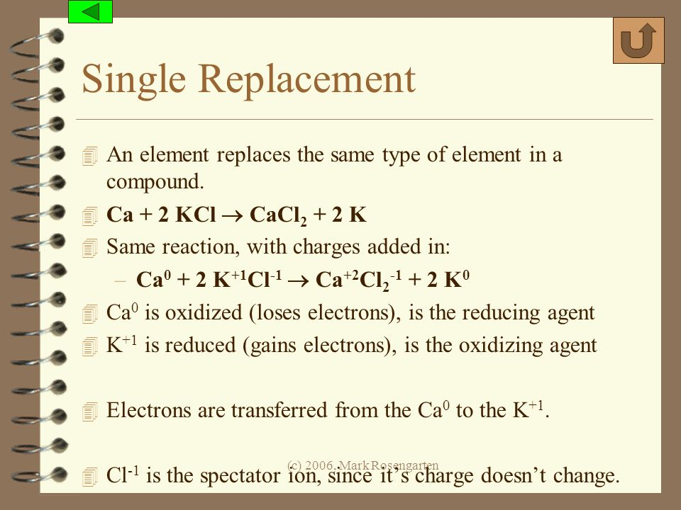 Single Replacement An element replaces the same type of element in a compound. Ca + 2 KCl  CaCl2 + 2 K.