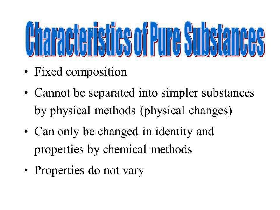 Characteristics of Pure Substances