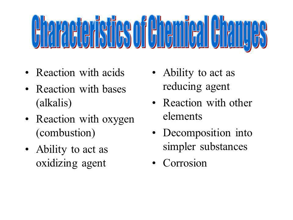 Characteristics of Chemical Changes