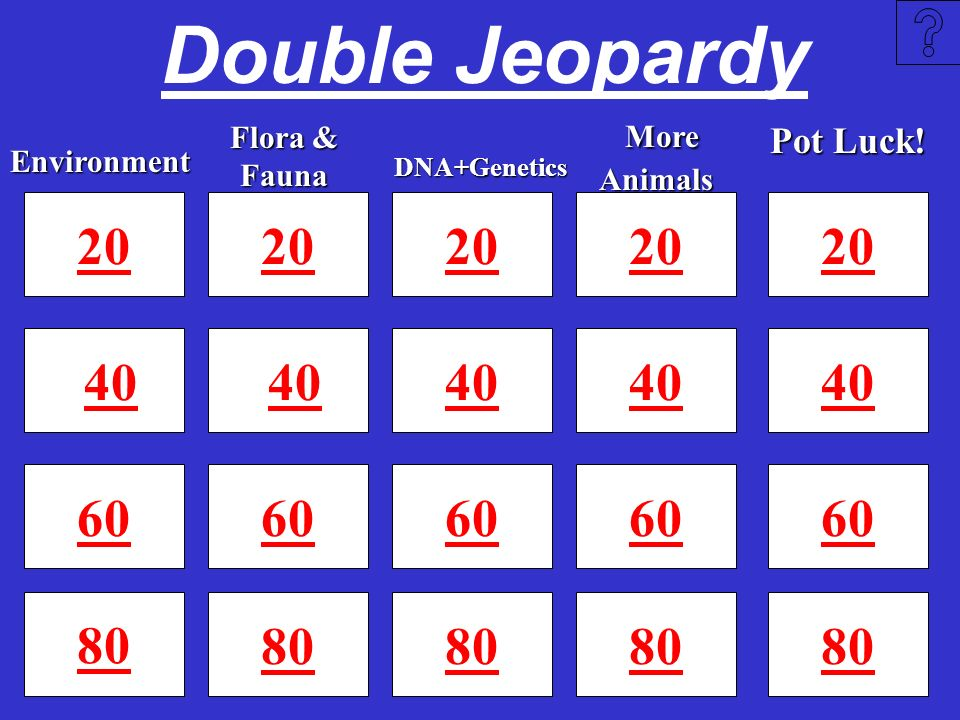Double Jeopardy DNA+Genetics. More Animals. Flora & Fauna. Pot Luck! Environment. 20. 20. 20.