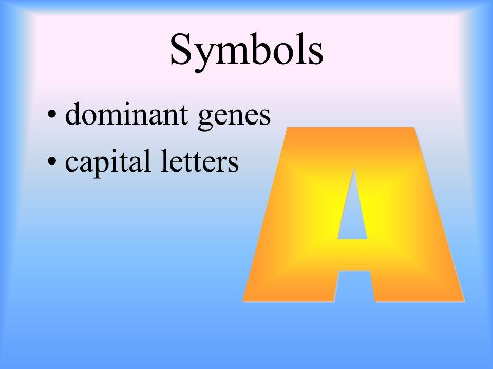 Symbols dominant genes capital letters A
