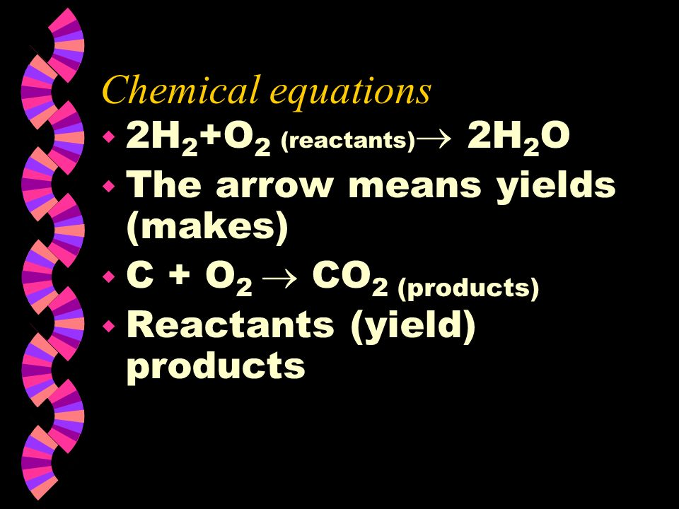 Chemical equations 2H2+O2 (reactants) 2H2O