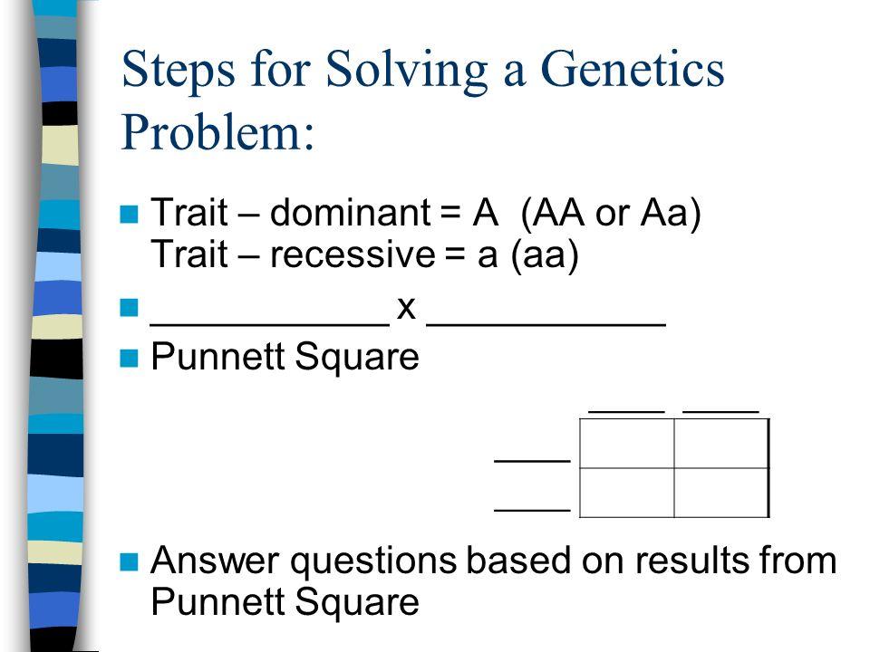 Steps for Solving a Genetics Problem: