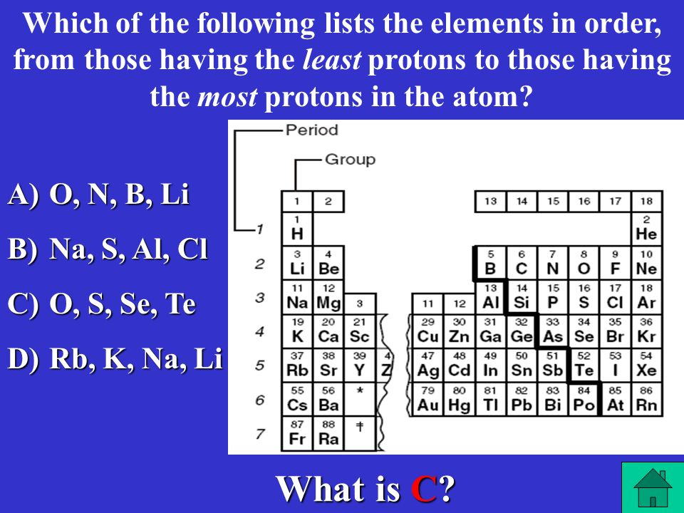 Which of the following lists the elements in order, from those having the least protons to those having the most protons in the atom