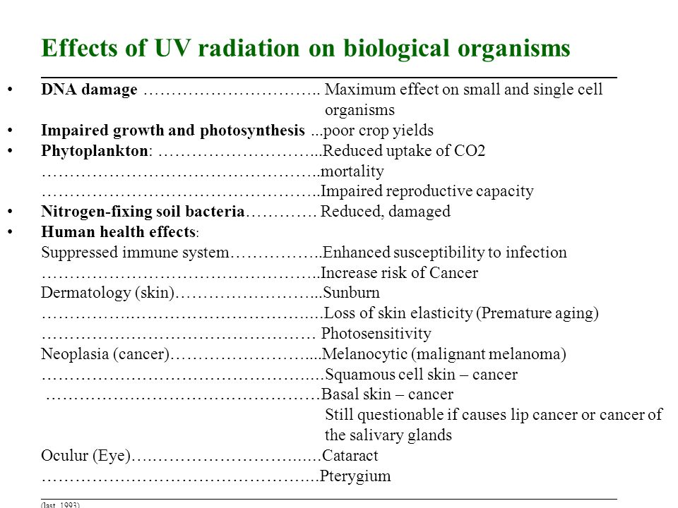 Effects of UV radiation on biological organisms