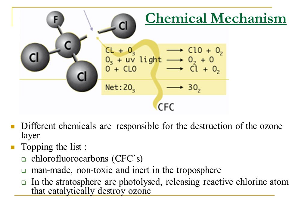Chemical Mechanism Different chemicals are responsible for the destruction of the ozone layer. Topping the list :