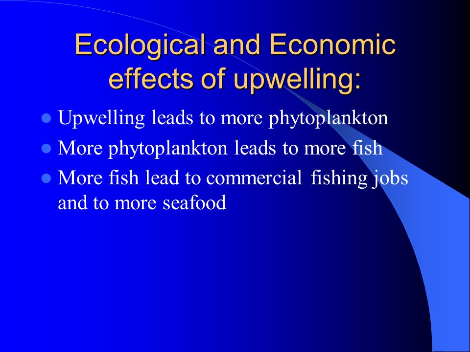 Ecological and Economic effects of upwelling: