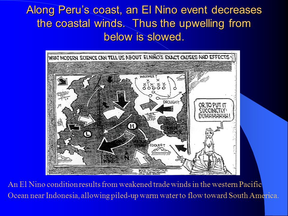 Along Peru's coast, an El Nino event decreases the coastal winds