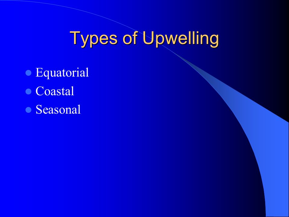 Types of Upwelling Equatorial Coastal Seasonal