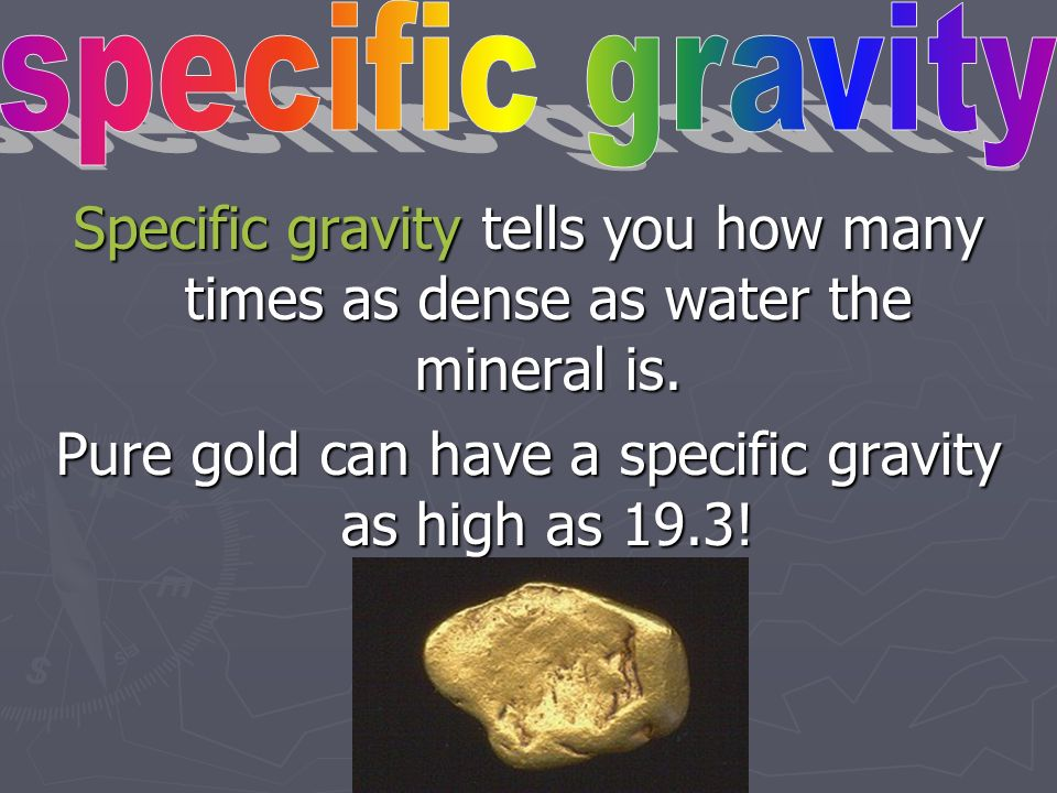 Pure gold can have a specific gravity as high as 19.3!
