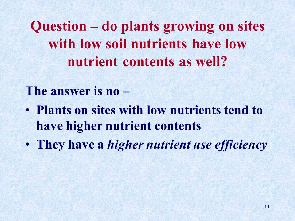 Question – do plants growing on sites with low soil nutrients have low nutrient contents as well