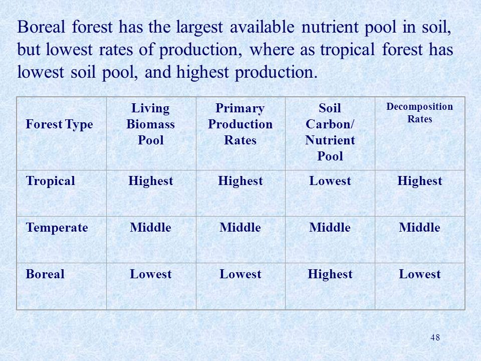 Boreal forest has the largest available nutrient pool in soil, but lowest rates of production, where as tropical forest has lowest soil pool, and highest production.