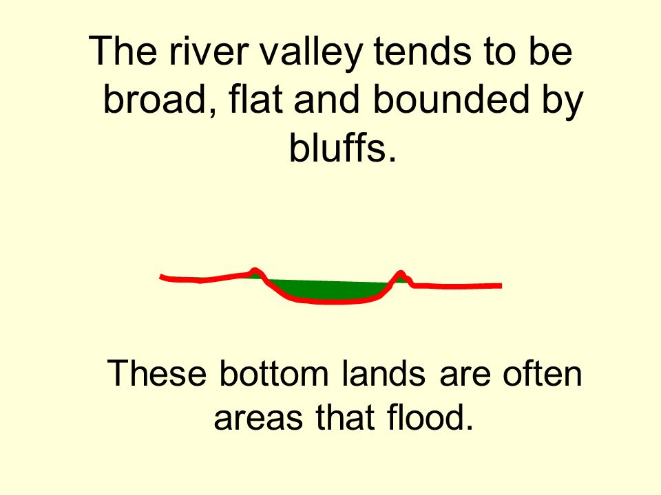 The river valley tends to be broad, flat and bounded by bluffs.
