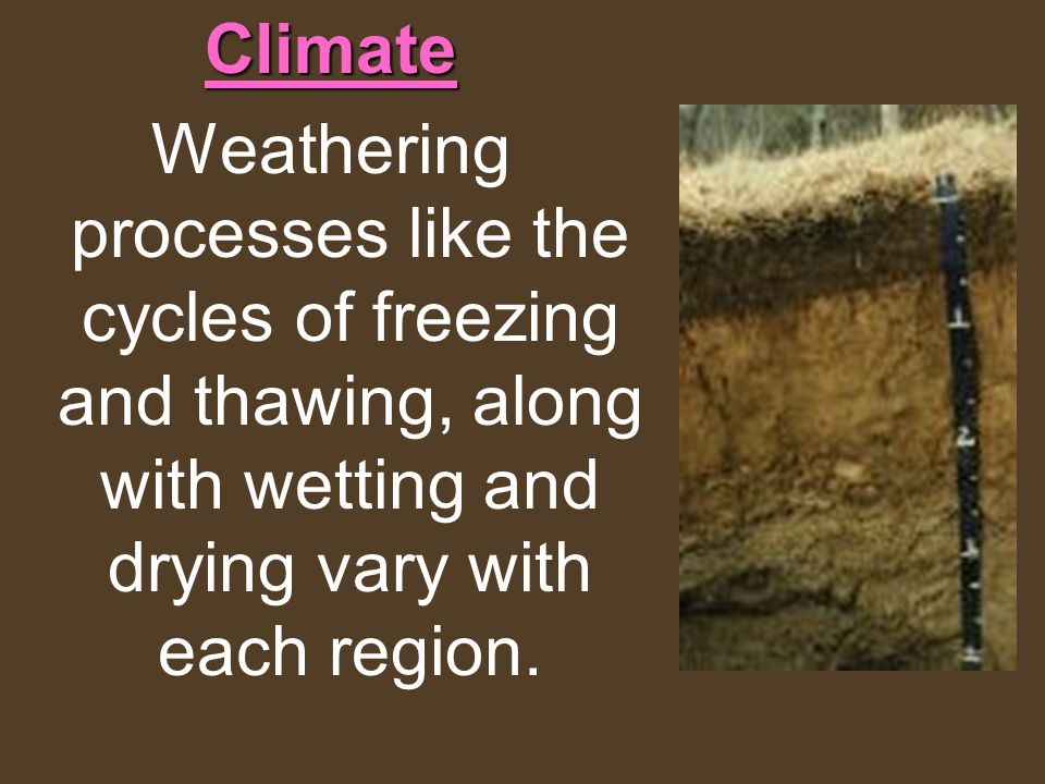 Climate Weathering processes like the cycles of freezing and thawing, along with wetting and drying vary with each region.
