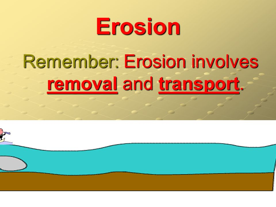 Remember: Erosion involves removal and transport.