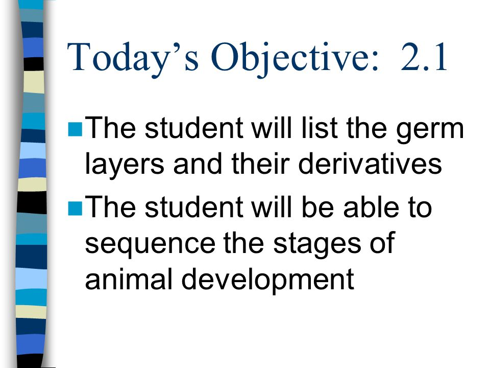 Today's Objective: 2.1 The student will list the germ layers and their derivatives.
