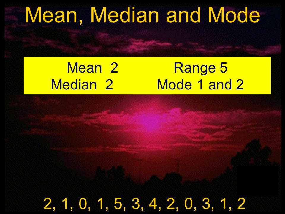 Mean, Median and Mode Mean 2 Range 5. Median 2 Mode 1 and 2. Mean, Median, and Mode.