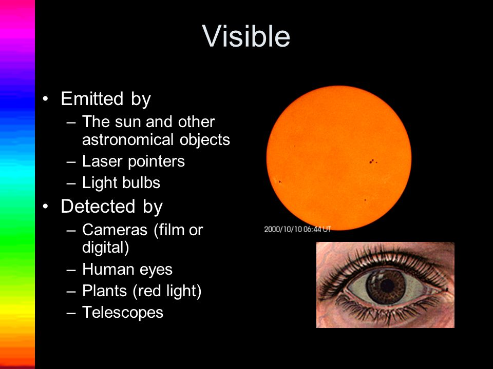 Visible Emitted by Detected by The sun and other astronomical objects