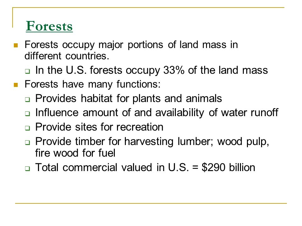 Forests In the U.S. forests occupy 33% of the land mass