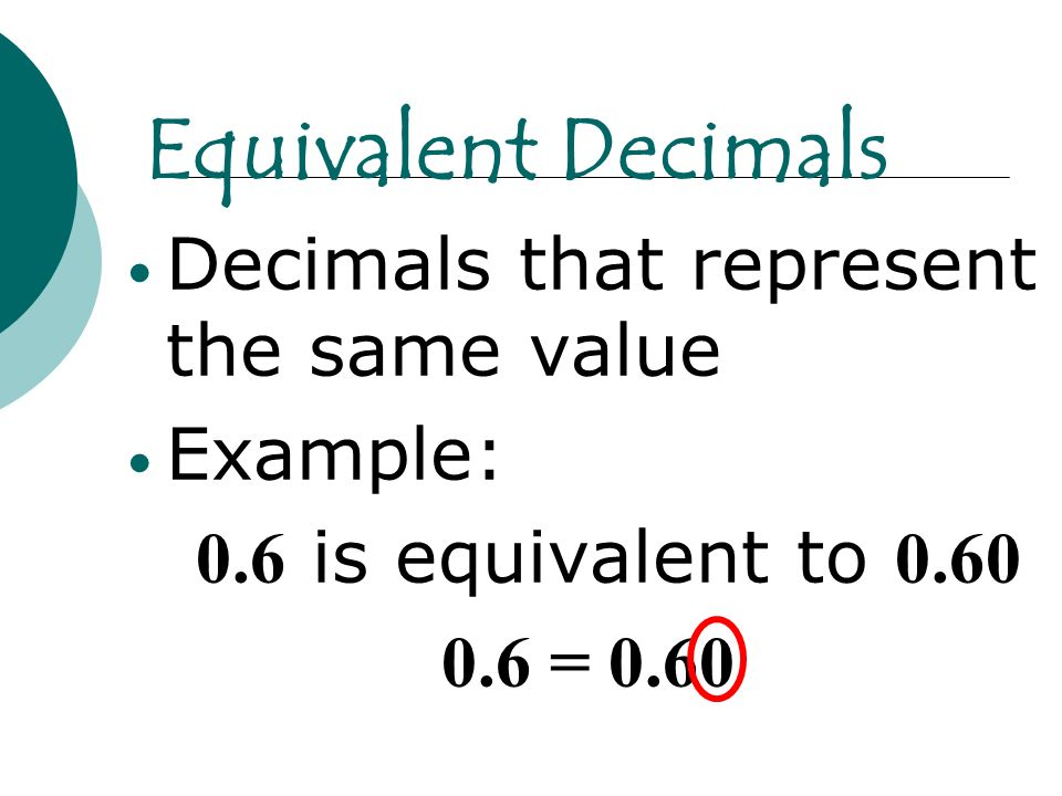 Equivalent Decimals Decimals that represent the same value Example: