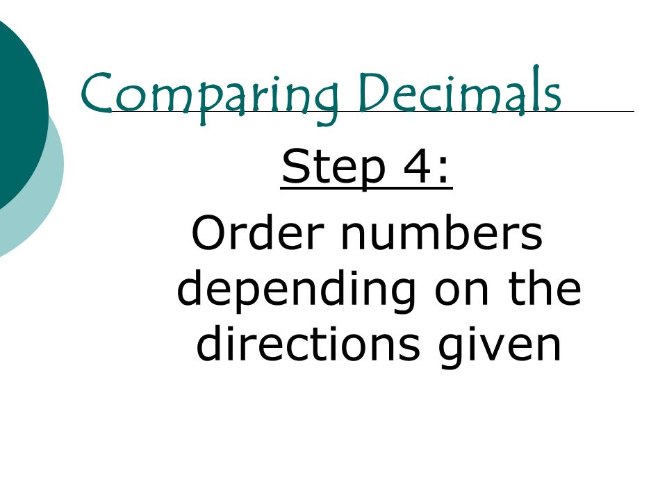 Order numbers depending on the directions given