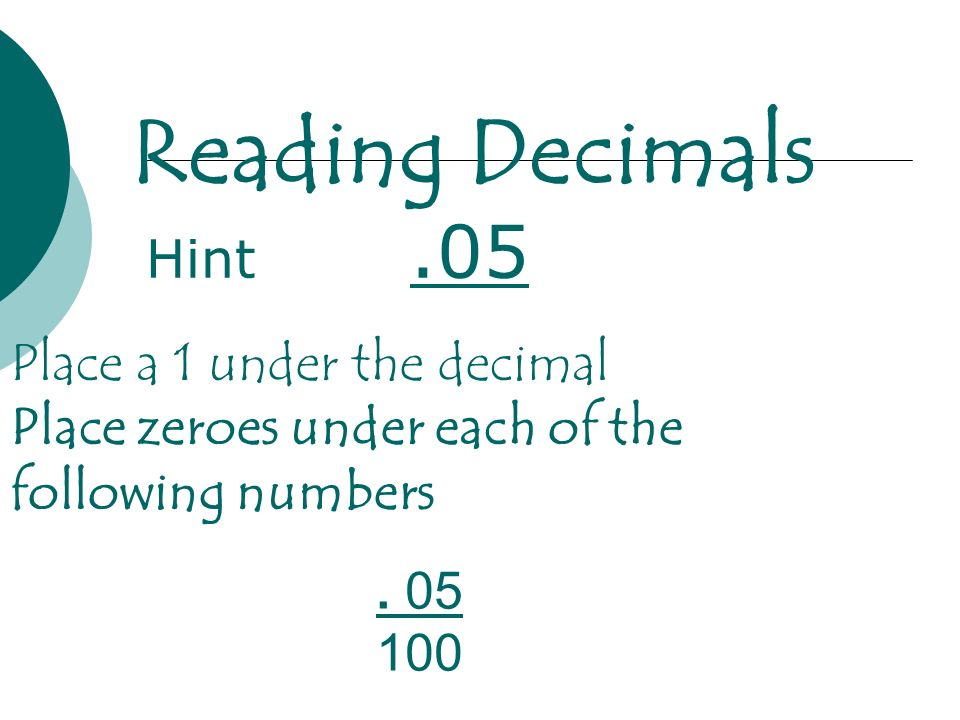 Reading Decimals Hint .05 Place a 1 under the decimal