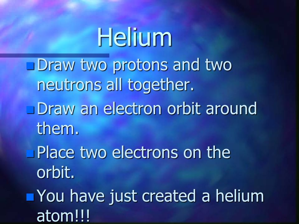 Helium Draw two protons and two neutrons all together.