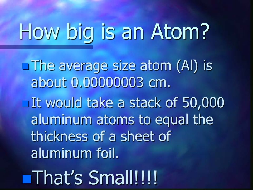 How big is an Atom That's Small!!!!