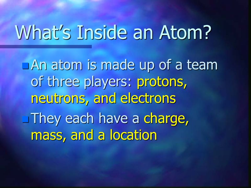 What's Inside an Atom An atom is made up of a team of three players: protons, neutrons, and electrons.