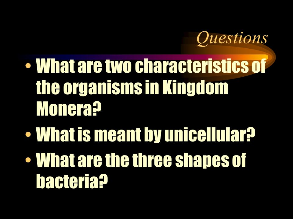 Questions What are two characteristics of the organisms in Kingdom Monera What is meant by unicellular