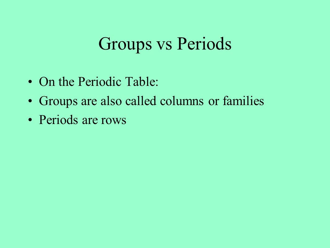 The development of the periodic table ppt video online download 21 groups vs periods on the periodic table gamestrikefo Choice Image