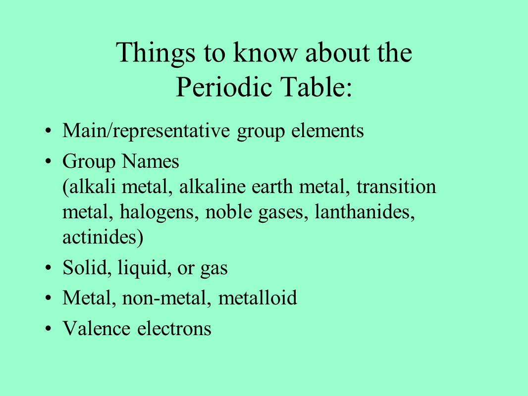 The development of the periodic table ppt video online download non metal metalloid valence electrons things to know about the periodic table gamestrikefo Image collections
