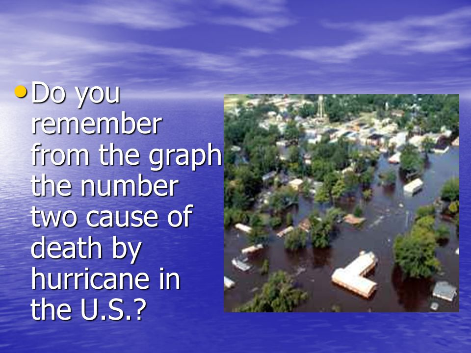 Do you remember from the graph the number two cause of death by hurricane in the U.S.