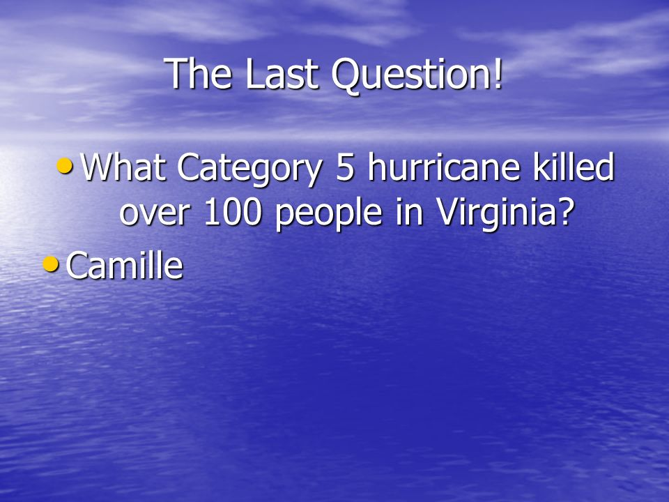 What Category 5 hurricane killed over 100 people in Virginia