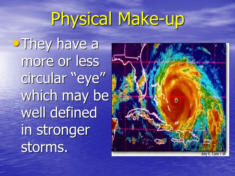 Physical Make-up They have a more or less circular eye which may be well defined in stronger storms.