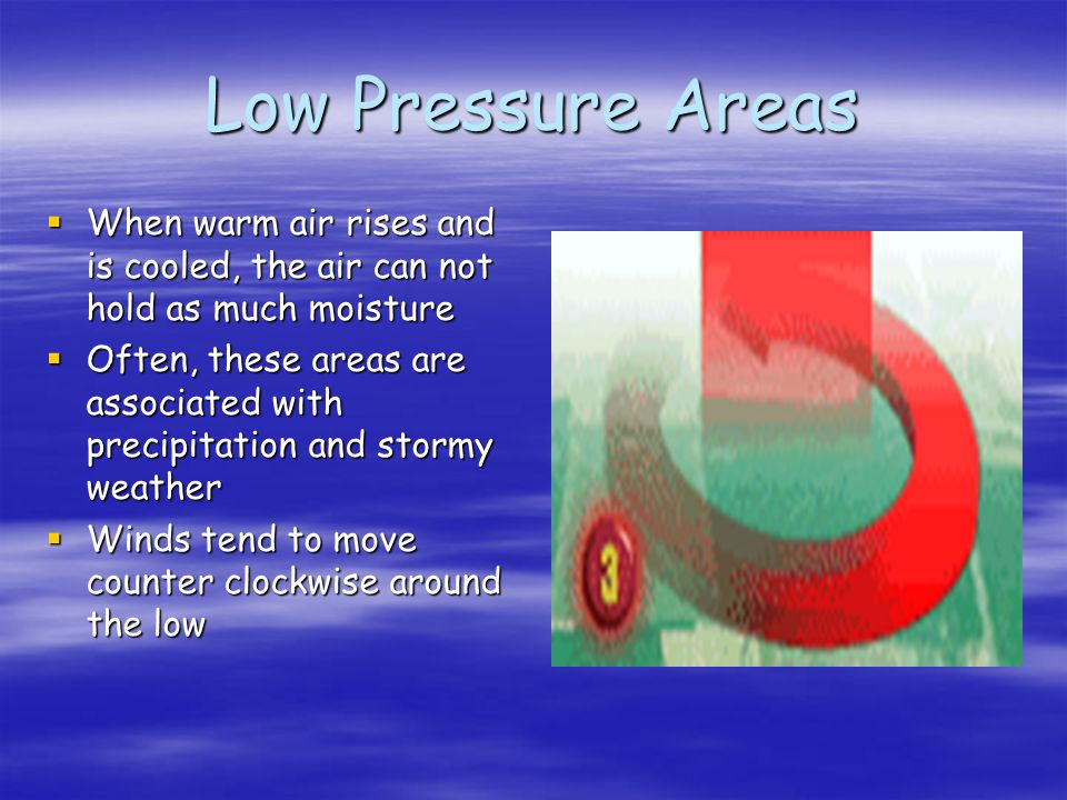 Low Pressure Areas When warm air rises and is cooled, the air can not hold as much moisture.