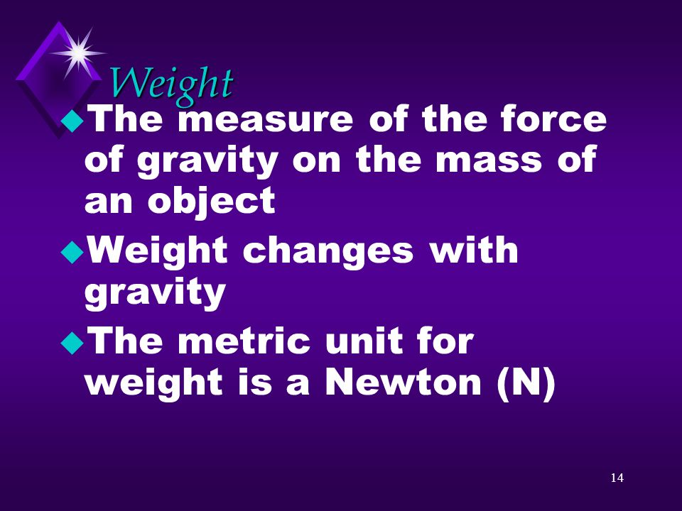Weight The measure of the force of gravity on the mass of an object