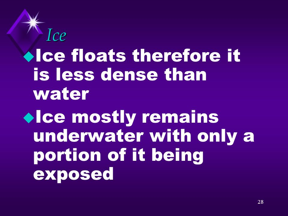 Ice Ice floats therefore it is less dense than water.