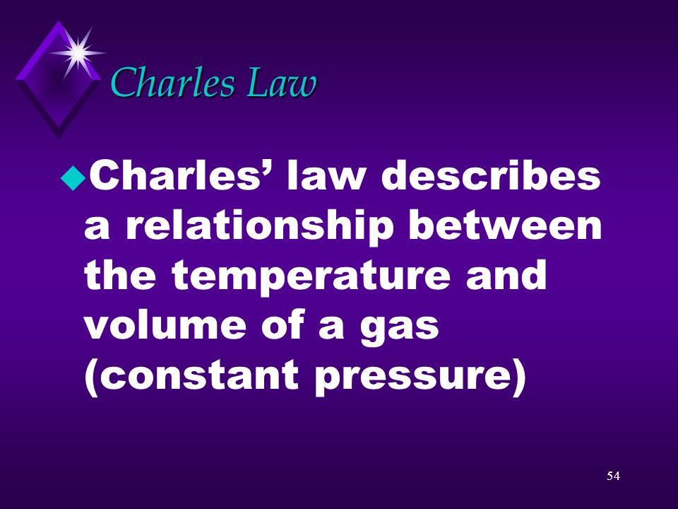 Charles Law Charles' law describes a relationship between the temperature and volume of a gas (constant pressure)