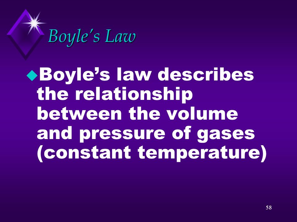 Boyle's Law Boyle's law describes the relationship between the volume and pressure of gases (constant temperature)