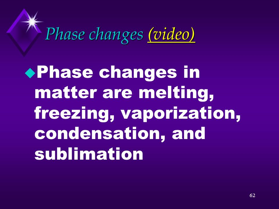 Phase changes (video) Phase changes in matter are melting, freezing, vaporization, condensation, and sublimation.