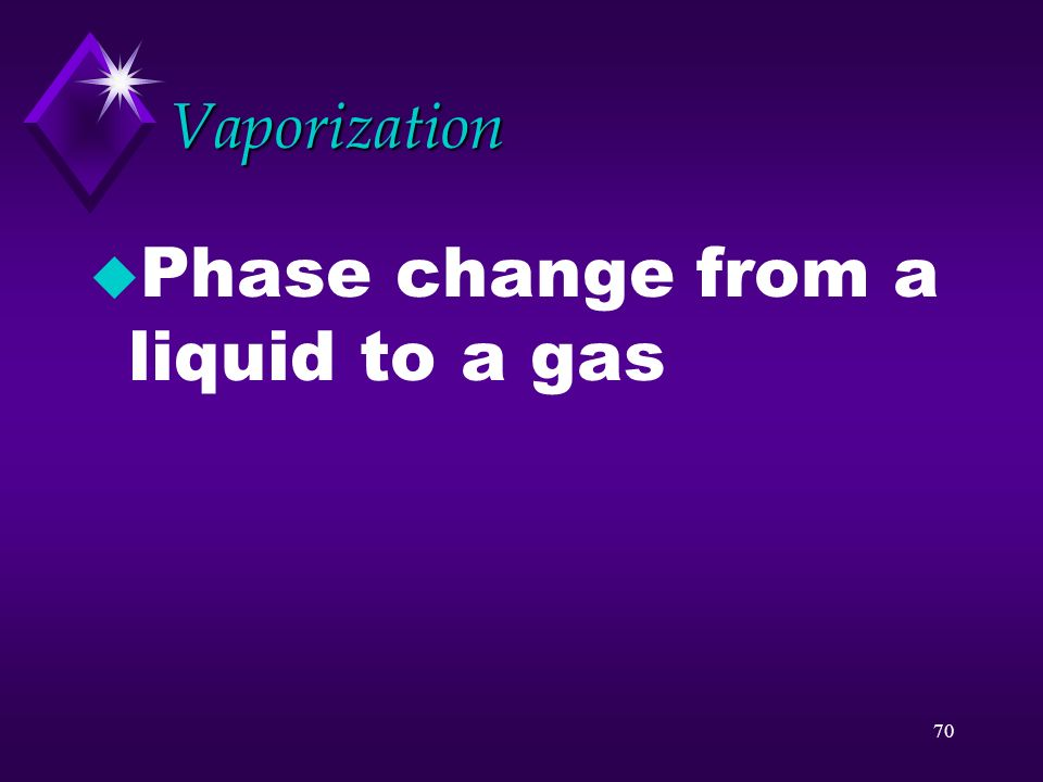 Phase change from a liquid to a gas